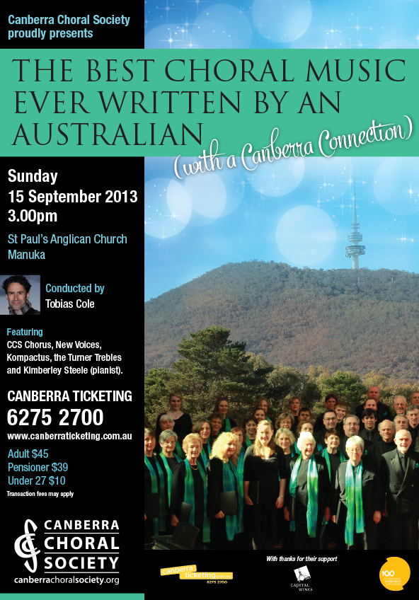 The best choral music ever written by an Australian 2013, poster