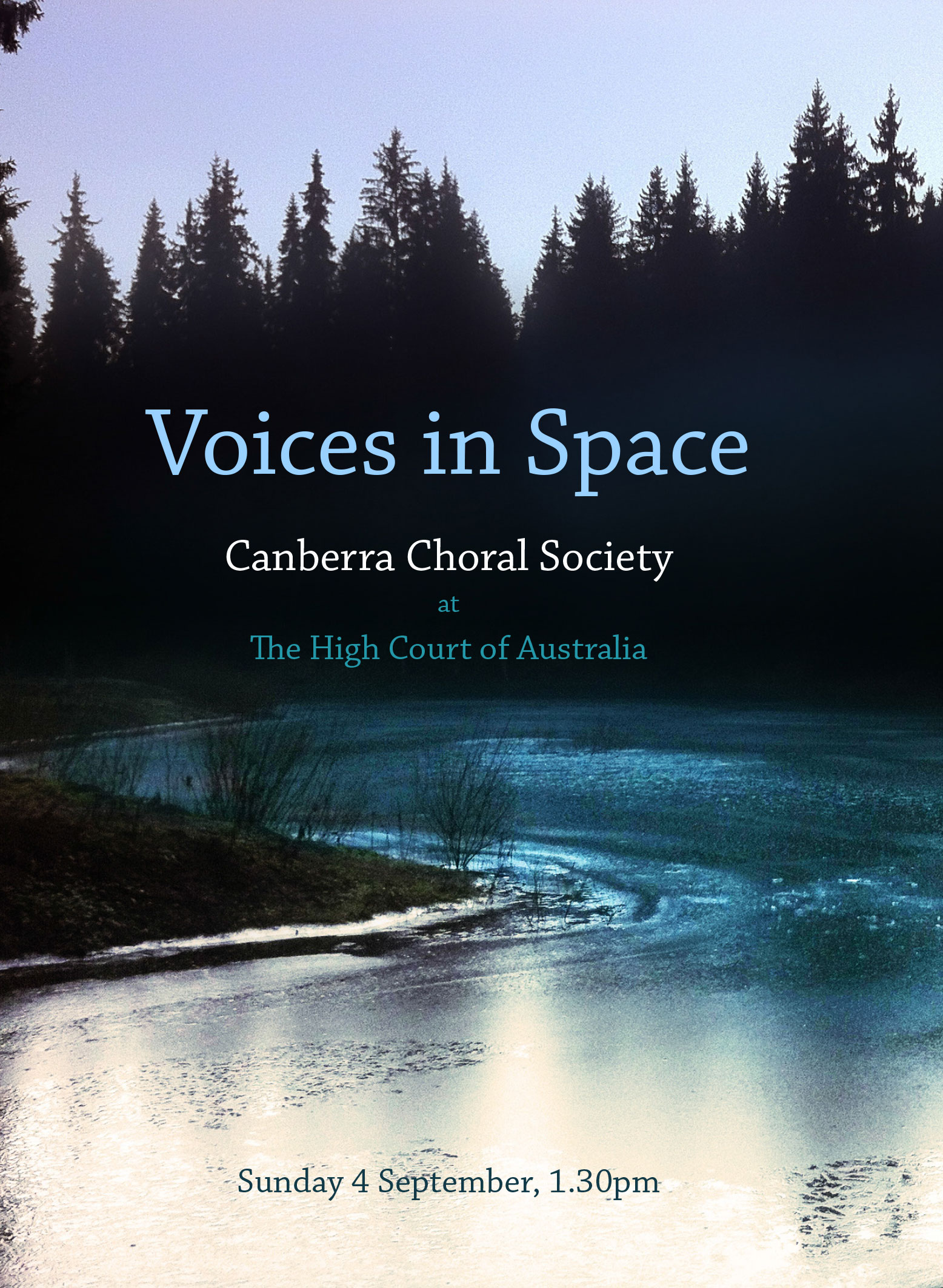 Voices in Space poster showing a river at dusk