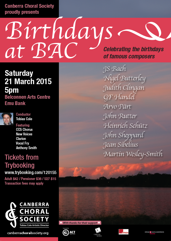 Birthdays at Belconnen Arts Centre 2015 poster